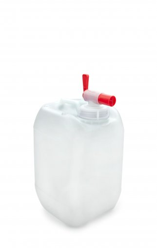 Plastic jerry can natural 5 Litre UN stackable with Drain Tap Aero Flow DIN 51
