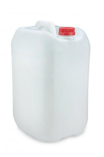 Kunststoff Kanister natur 25 Liter UN stapelbar mit Schraubverschluss DIN 51 rot mit Entgasung