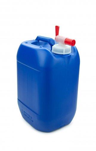 Plastic jerry can blue10 Litre UN stackable with Drain valve DIN 51