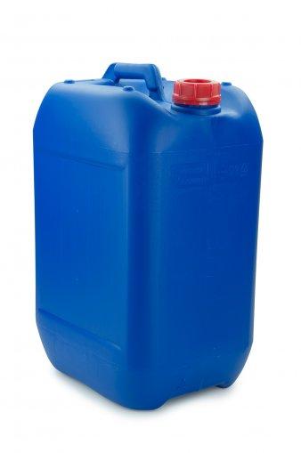Kunststoff Kanister blau 25 Liter UN stapelbar mit Schraubverschluss DIN 51 rot mit Entgasung