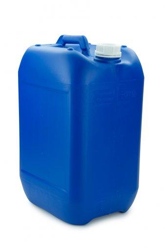 Plastic jerry can blue25 Litre UN stackable with Screw cap DIN 51 white