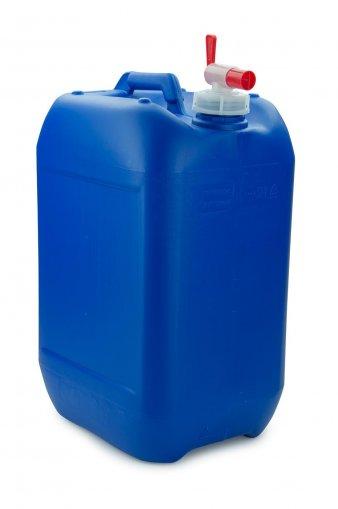 Kunststoff Kanister blau 25 Liter UN stapelbar mit Auslaufhahn DIN 51