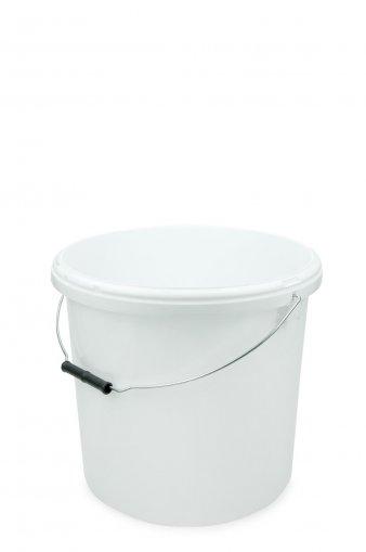 Kunststoff Eimer mit Deckel weiss, rund, Metallbügel 20 Liter Karton