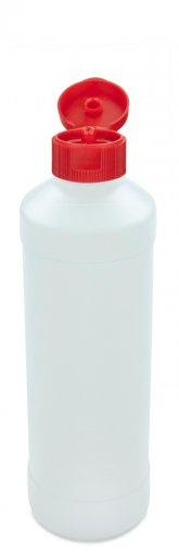 Kunststoff Flasche 500 ml mit Klapp- Schraubverschluss DIN 28 Spritzöffung schräg 1 mm rot