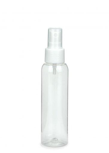 R-PET Flasche AIDA 100 ml klar mit Spray Zerstäuber 24/410 Basic weiss glatt
