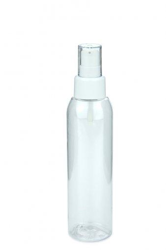 PET Flasche AIDA 125 ml klar mit Lotionpumpe weiß 24/410