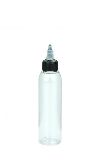 PET Flasche AIDA 125 ml klar inkl. Dosierspitze mit On/Off Verschraubung schwarz 24/410