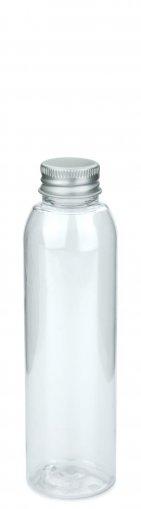 PET cosmetic bottle AIDA 125ml clear with alu screw cap Box