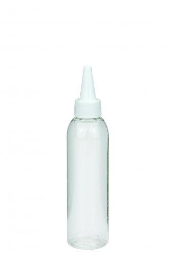 PET Flasche AIDA 100 ml klar mit Tülle mit verschraubbarer Kappe weiß