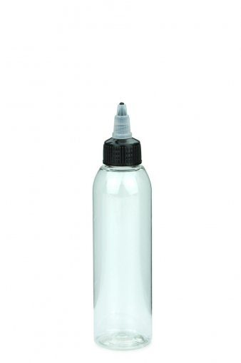 PET bottle AIDA 150 ml clear with with twist top cap natural/black 24/410
