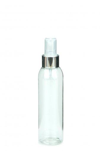 R-PET Flasche AIDA 150 ml klar mit Spray Zerstäuber Pumpe Luxury 24/410 natur/metall