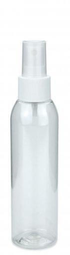 R-PET Flasche AIDA 150 ml klar mit Spray Zerstäuber 24/410 Basic weiss