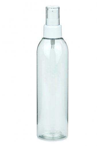 PET Flasche AIDA 250 ml klar mit Lotionpumpe weiß 24/410,
