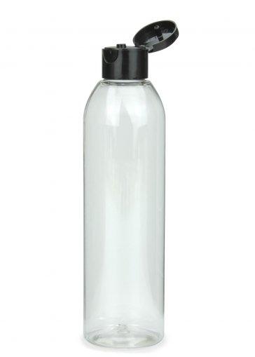 R-PET Flasche AIDA 250 ml klar mit Klapp- Schraubverschluss 24/410 schwarz