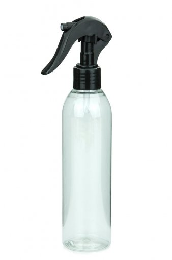 R-PET Flasche AIDA 250 ml klar mit Mini Trigger Sprühpistole 24/410 schwarz