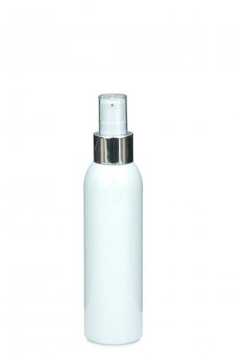 PET bottle AIDA 100 ml white with Lotion Dispenser Pump 24/410 white/metal tube length 130 mm