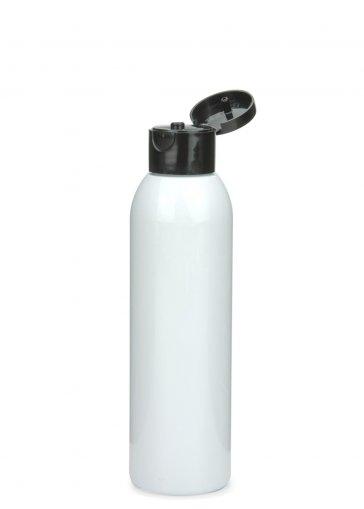 R-PET Flasche AIDA 150 ml weiss mit Klapp- Schraubverschluss 24/410 schwarz