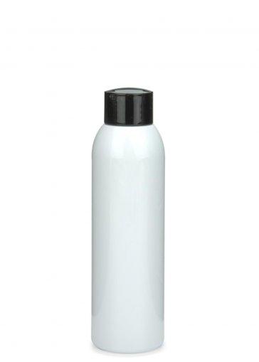 PET Flasche AIDA 150 ml weiss mit Schraubverschluss 24/410 schwarz glänzend