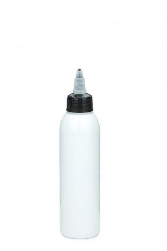 PET Flasche AIDA 100 ml weiss mit Tülle mit on/off Verschluss