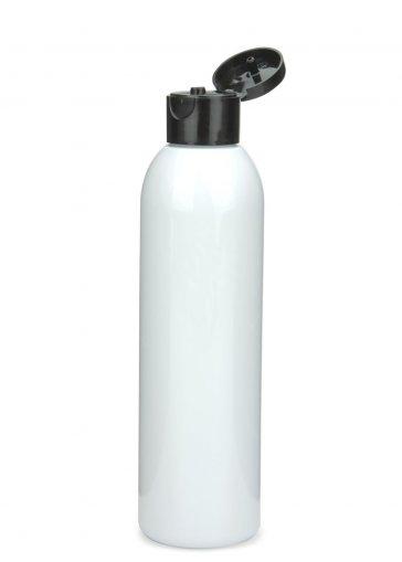 R-PET Flasche AIDA 200 ml weiss mit Klapp- Schraubverschluss 24/410 schwarz