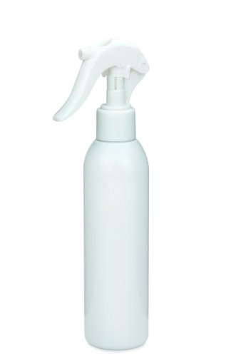 R-PET Flasche AIDA 200 ml weiss mit Mini Trigger Sprühpistole 24/410 weiß