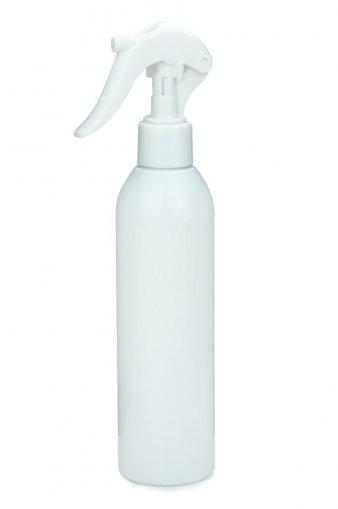 R-PET Flasche AIDA 250 ml weiss mit Mini Trigger Sprühpistole 24/410 weiß