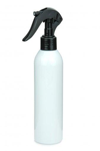 R-PET Flasche AIDA 250 ml weiss mit Mini Trigger Sprühpistole 24/410 schwarz