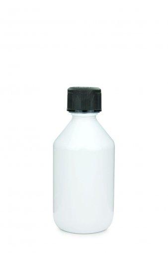 PET Laborflasche 150 ml weiss mit Schraubverschluss 28 ROPP Originalität KISI schwarz