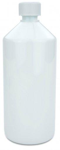 PET Laboratory bottle 1.000 ml white with screw cap 28 ROPP child resistant white