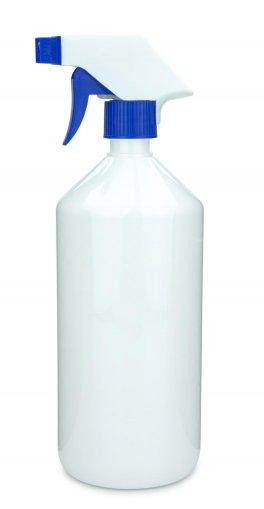PET Laborflasche 1000 ml weiss mit Trigger Sprühpistole Standard, spray only, weiß/blau