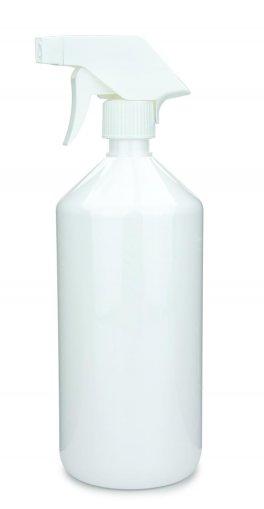 PET Laborflasche 1000 ml weiss mit Trigger Sprühpistole Standard, spray only, weiß