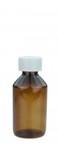 PET Laborflasche 150 ml braun mit Schraubverschluss 28 ROPP Originalität KISI weiss