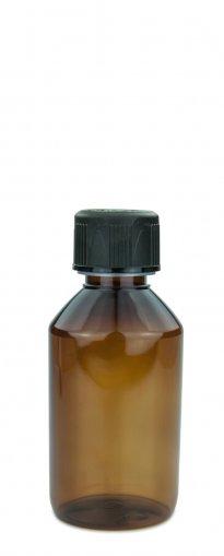 PET Laboratory bottle 150ml amber with screw cap 28 ROPP child resistant black