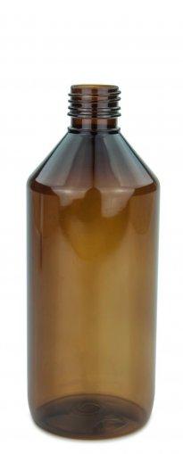 PET Laborflasche 500 ml braun ohne Verschluss