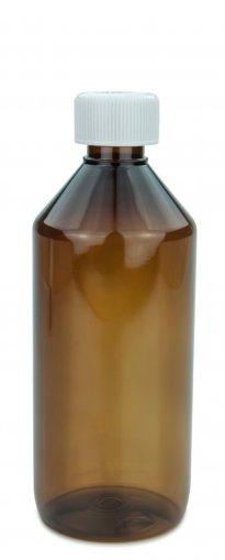 PET Laborflasche 500 ml braun mit Schraubverschluss 28 ROPP Originalität KISI weiss Karton