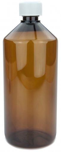 PET Laborflasche 1000 ml braun mit Schraubverschluss 28 ROPP Originalität KISI weiss