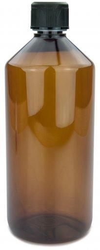 PET Laborflasche 1000 ml braun mit Schraubverschluss 28 ROPP Originalität KISI schwarz