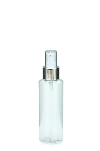 PET bottle LEONORA 125 ml clear with Lotion Dispenser Pump 24/410 white/metal tube length 130 mm