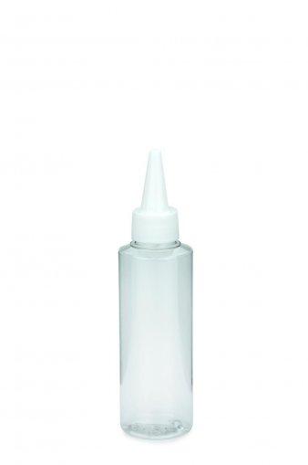PET Flasche LEONORA 125 ml klar inkl. Dosierspitze mit Schraubkappe weiß 24/410
