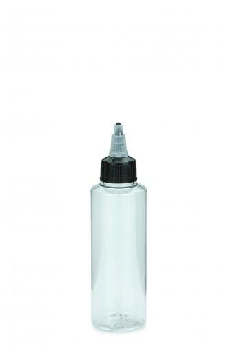 PET Flasche LEONORA 125 ml klar inkl. Dosierspitze mit On/Off Verschraubung schwarz 24/410