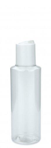 PET bottle LEONORA 125ml clear incl. Disc top screw cap 24/410 white