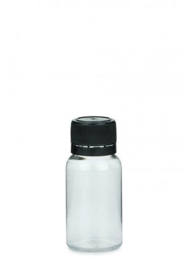 PET mini Flasche NORMA 15 ml klar inkl. Schraubverschluss 18mm schwarz für PET mini