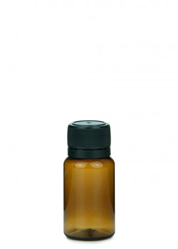 PET mini Flasche NORMA 10 ml braun inkl. Schraubverschluss 18mm schwarz für PET mini