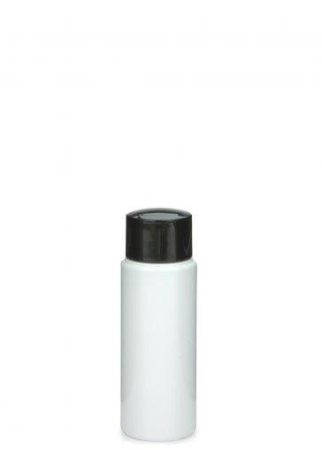 PET Flasche LEONORA 50 ml weiß mit Schraubverschluss 24/410 schwarz glänzend