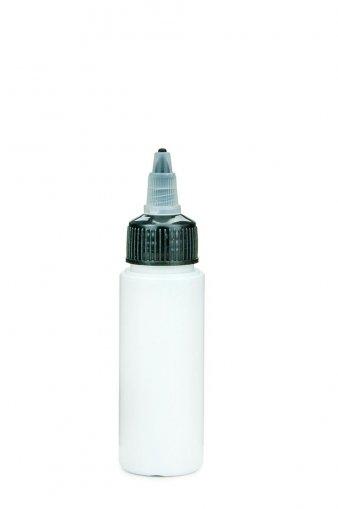 PET Flasche LEONORA 50 ml weiss inkl. Dosierspitze mit On/Off Verschraubung schwarz 24/410