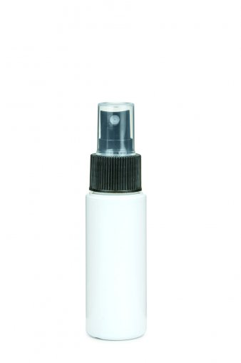 PET bottle LEONORA 50 ml white incl. fine mist sprayer 24/410 black