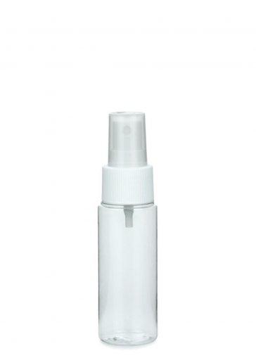 PET bottle LEONORA 50 ml clear incl. Fine mist sprayer 24/410 white
