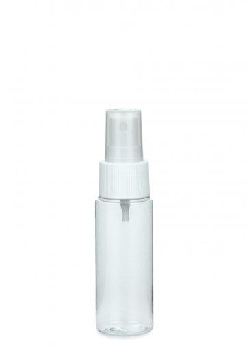 PET Flasche LEONORA 50 ml klar inkl. Spray Zerstäuber Pumpe Basic 24/410 weiss