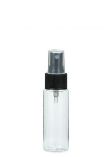 PET Flasche LEONORA 50 ml klar inkl. Spray Zerstäuber Pumpe Basic 24/410 schwarz