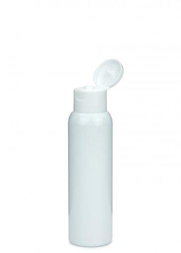 PET Flasche AIDA 100 ml weiss mit Klapp- Schraubverschluss 24/410 weiß